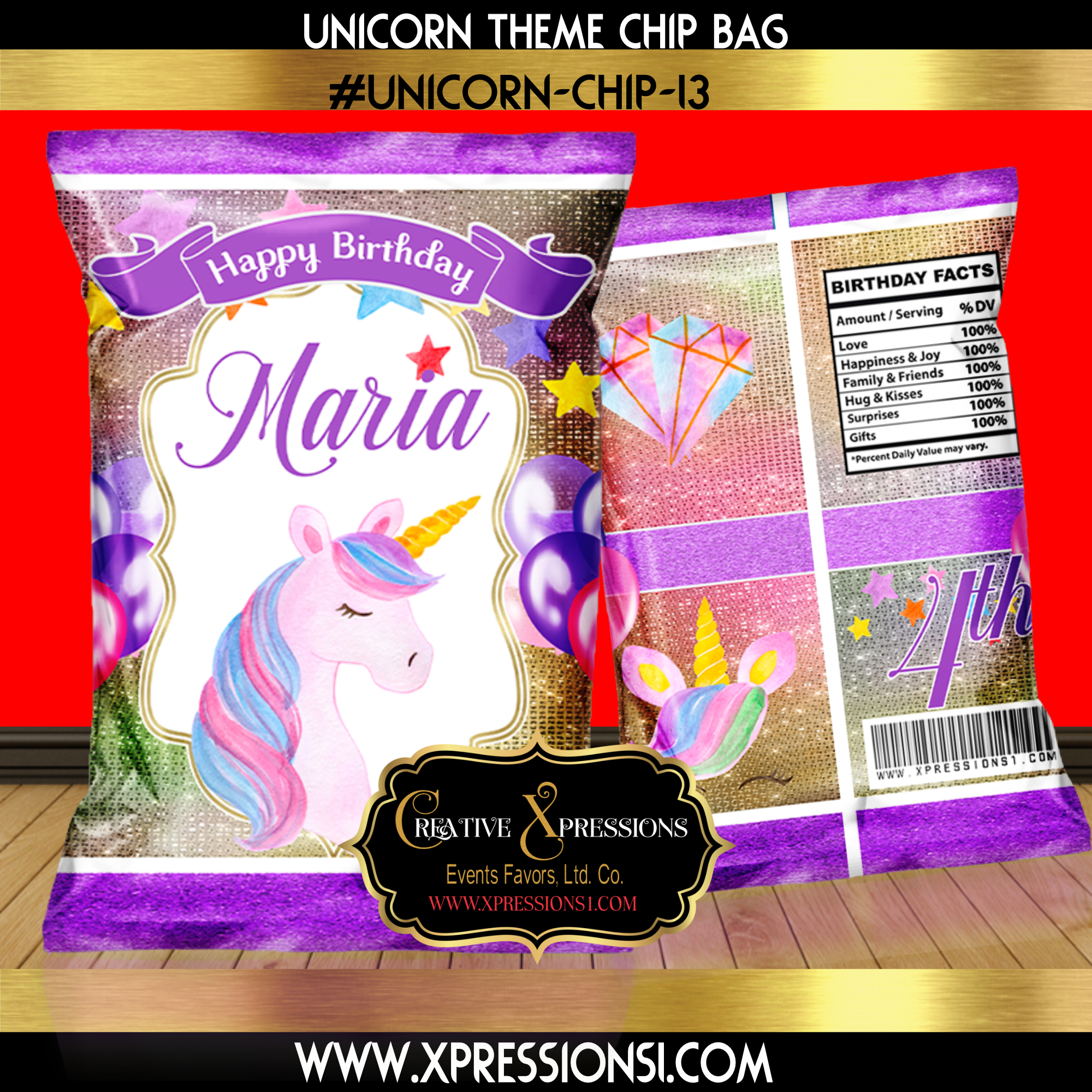 Pretty Purple Glitter Unicorn Chip Bag