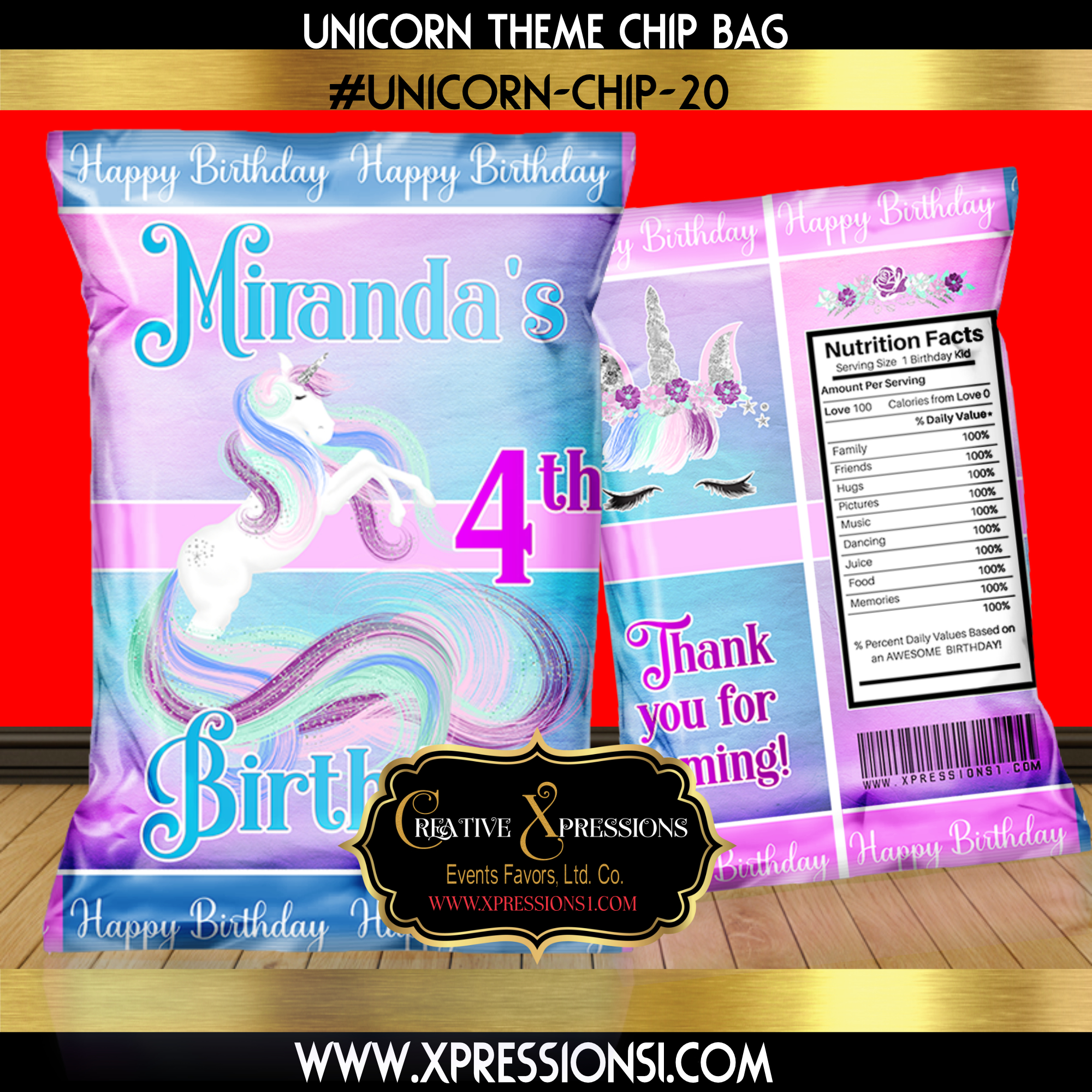 Unicorn Elegance Birthday Chip Bag