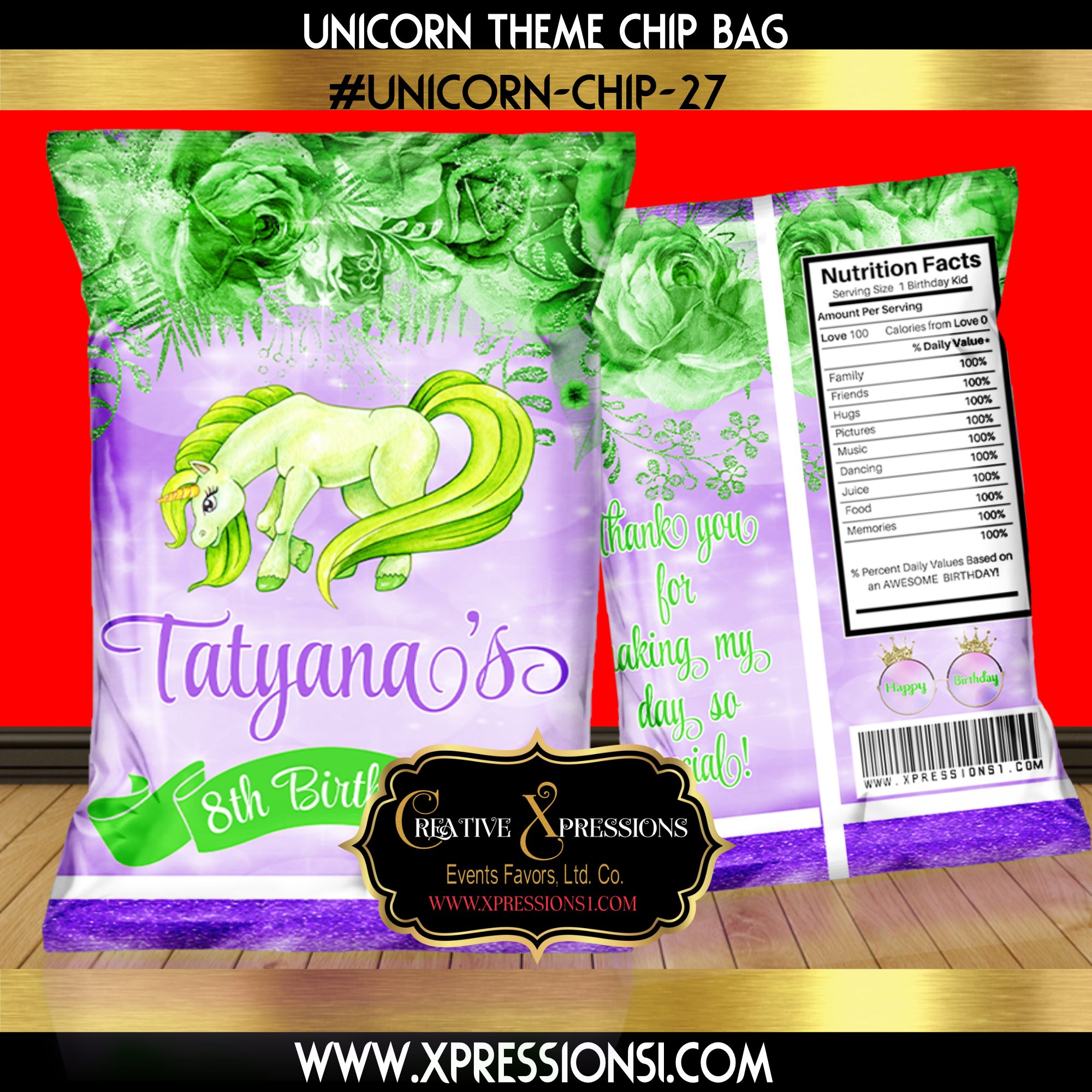 Lime Green Unicorn Florals Chip Bag