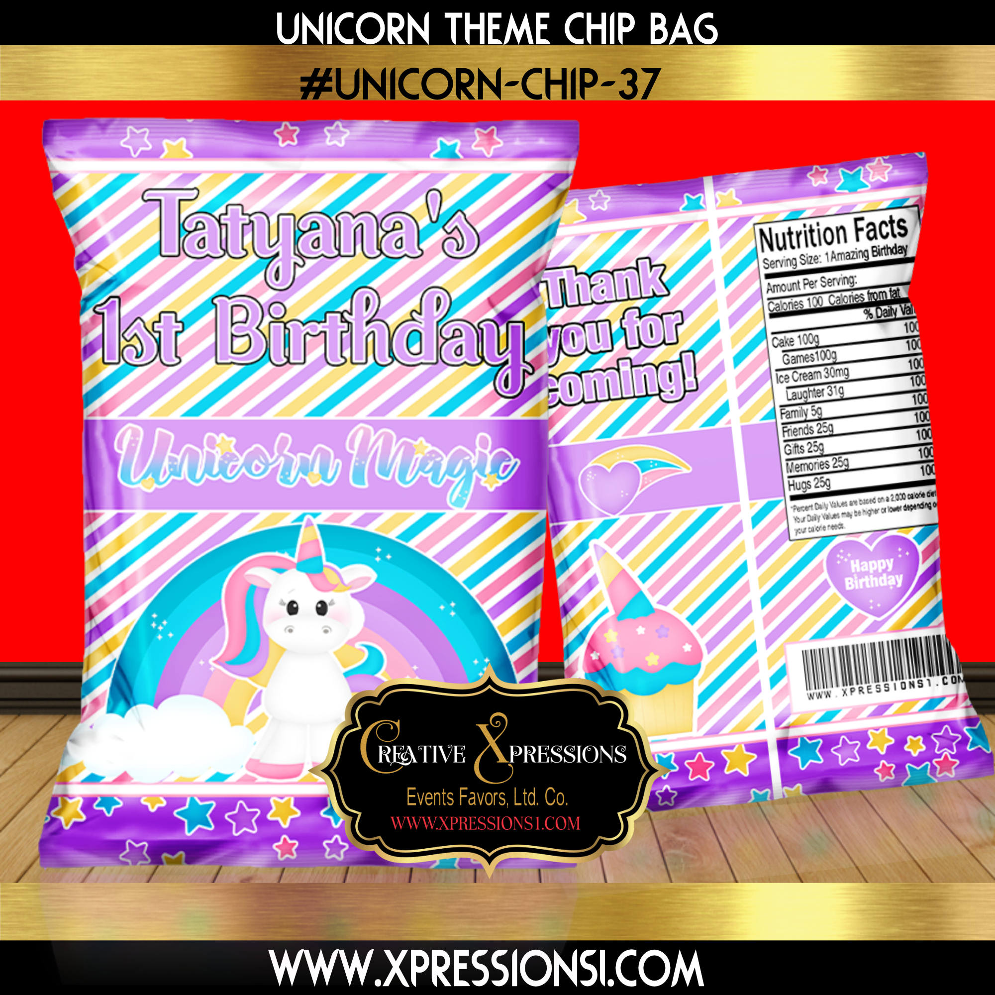 Unicorn Stripes Chip Bag