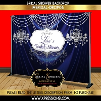 Deep Blue Bridal Shower Backdrop