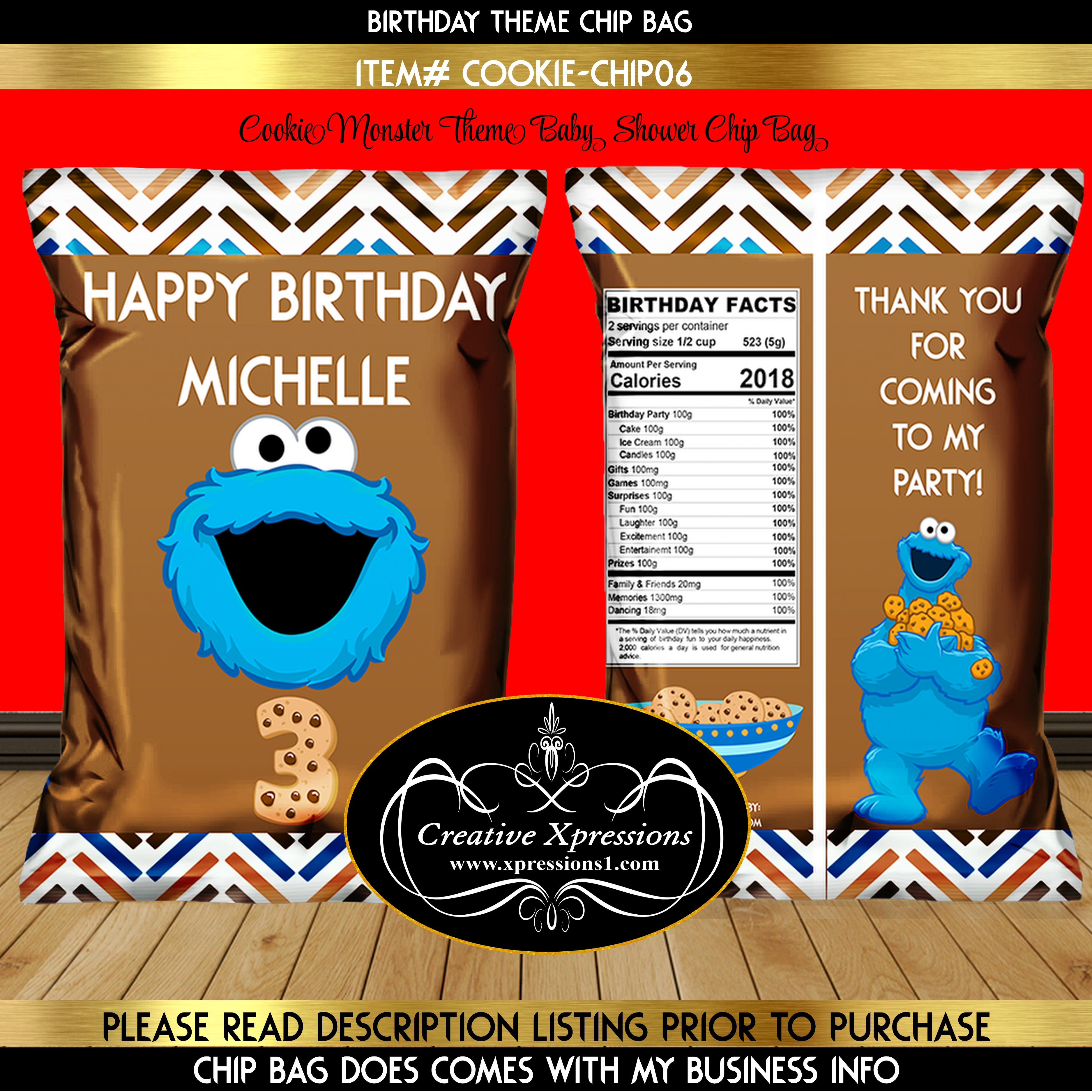 Cookie Monster on Brown Chip Bag