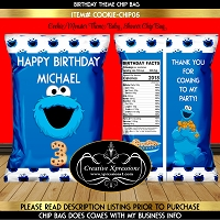 Blue Cookie Monster Chip Bag