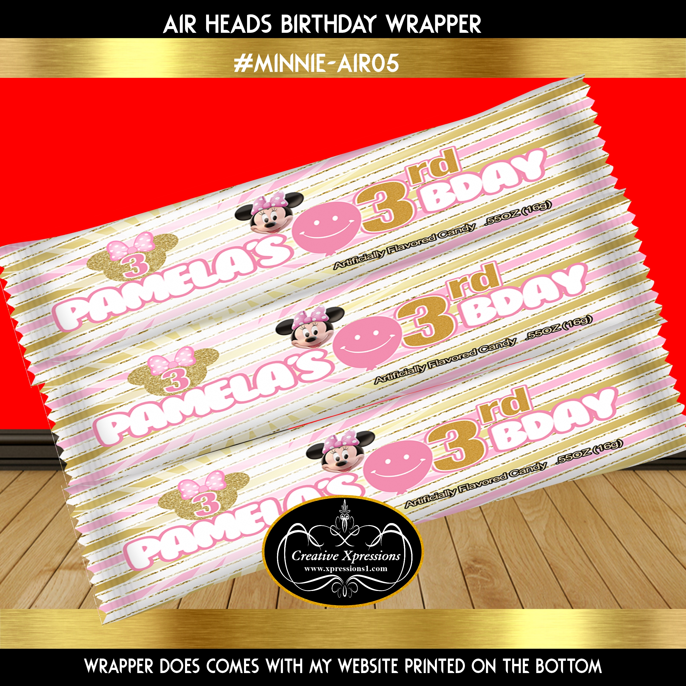 Minnie Pink and Gold Stripes Candy Wrapper