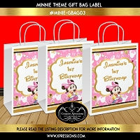 Pink and Gold Minnie Gift Bag Label