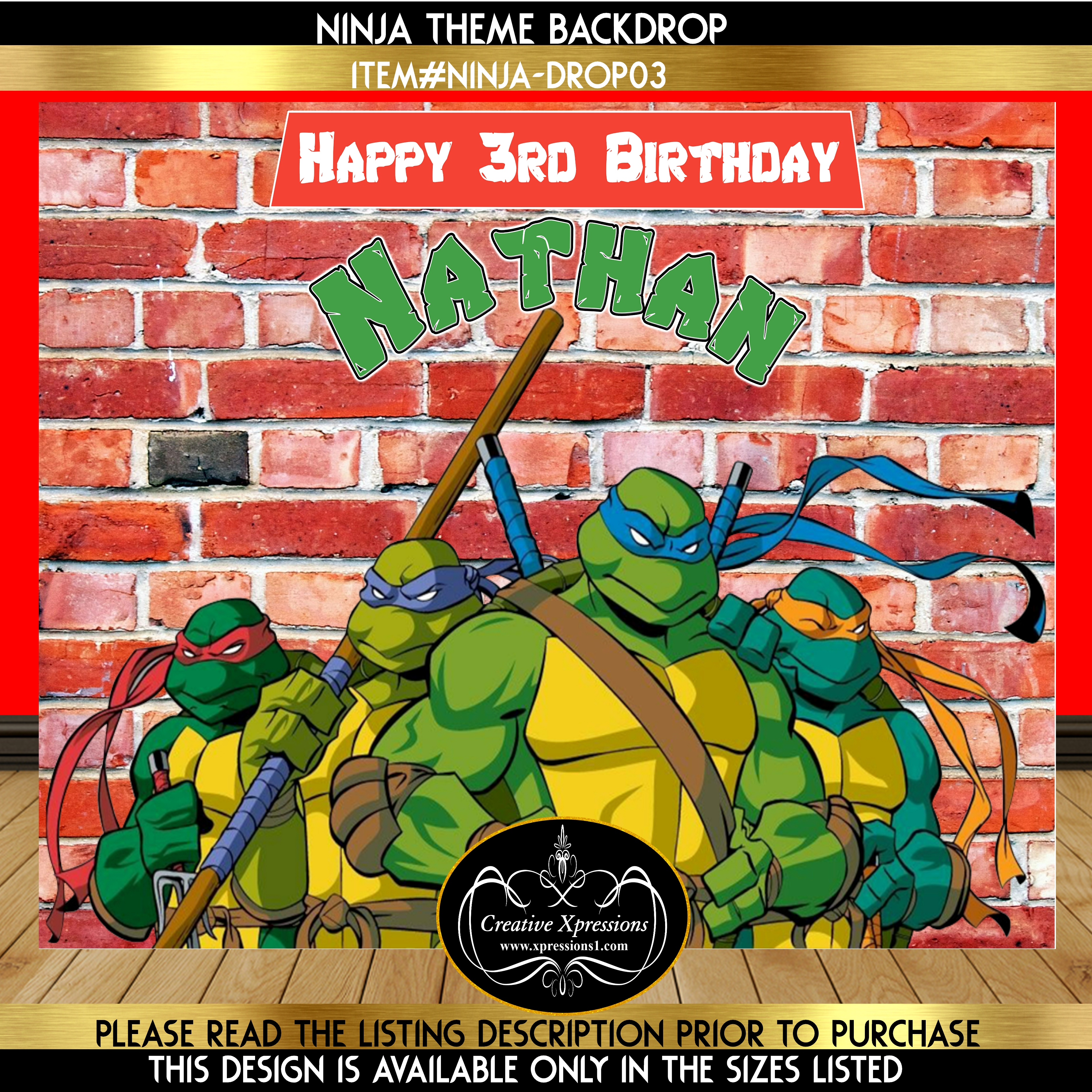 Ninja Turtle Birthday Backdrop