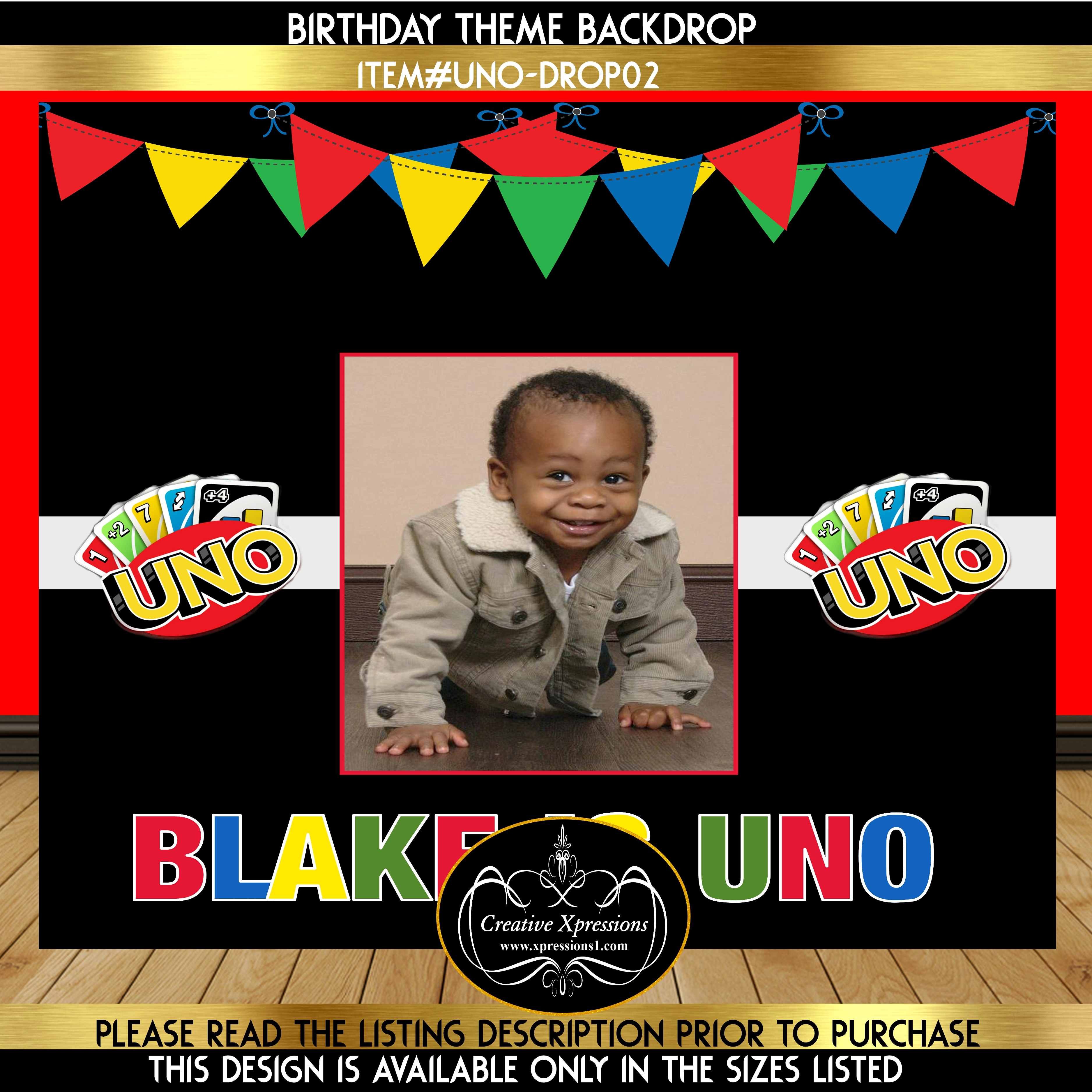 Uno Birthday Backdrop with Photo