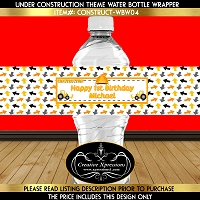 Construction Theme Birthday Water Bottle Wrapper