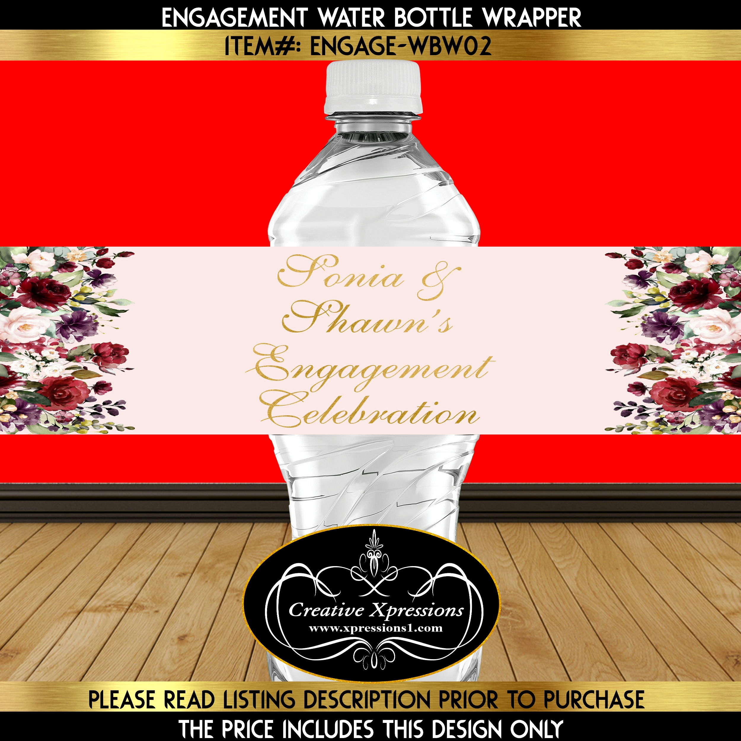 Florals on Blush Water Bottle Wrapper