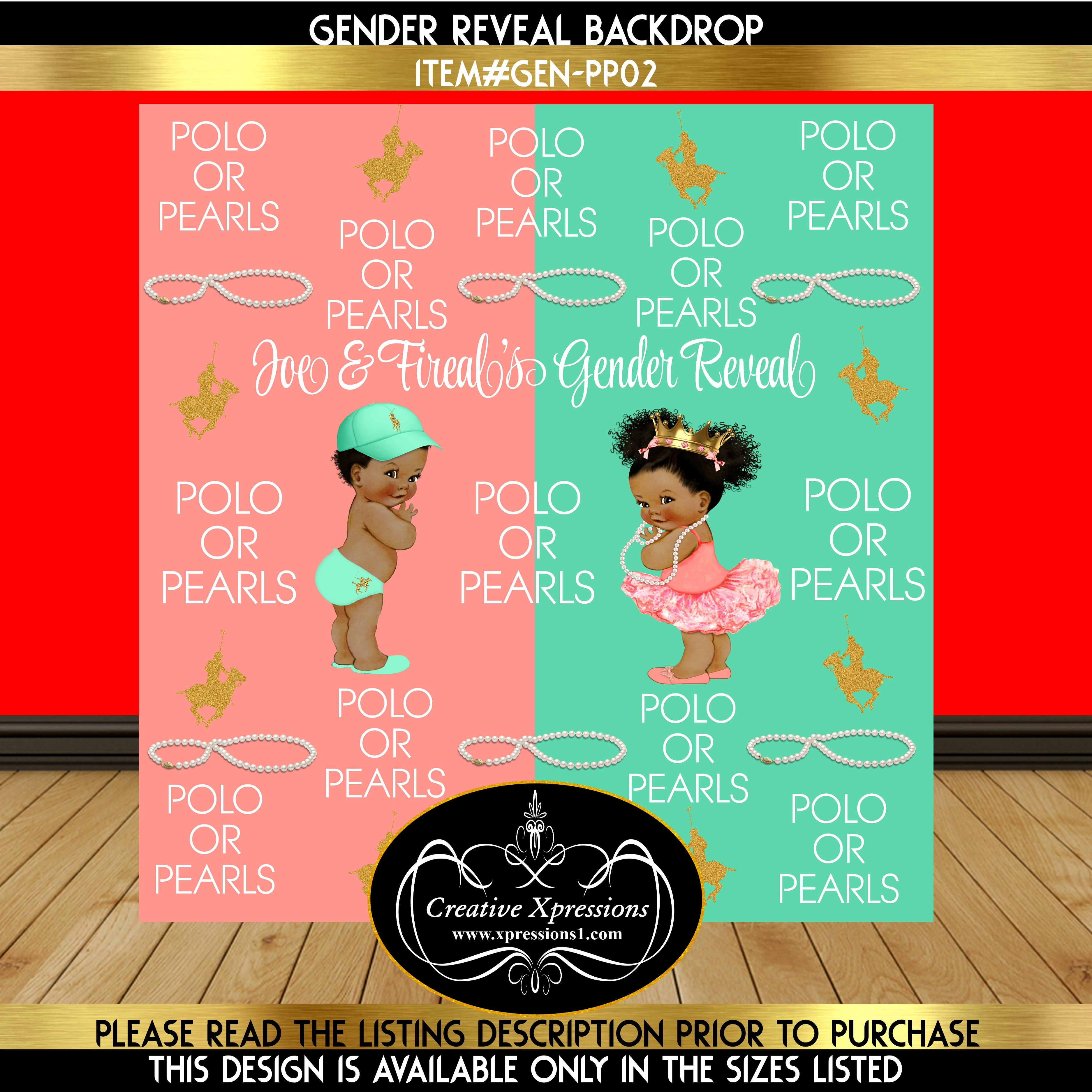 Coral or Mint Polo or Pearls Gender Reveal Backdrop