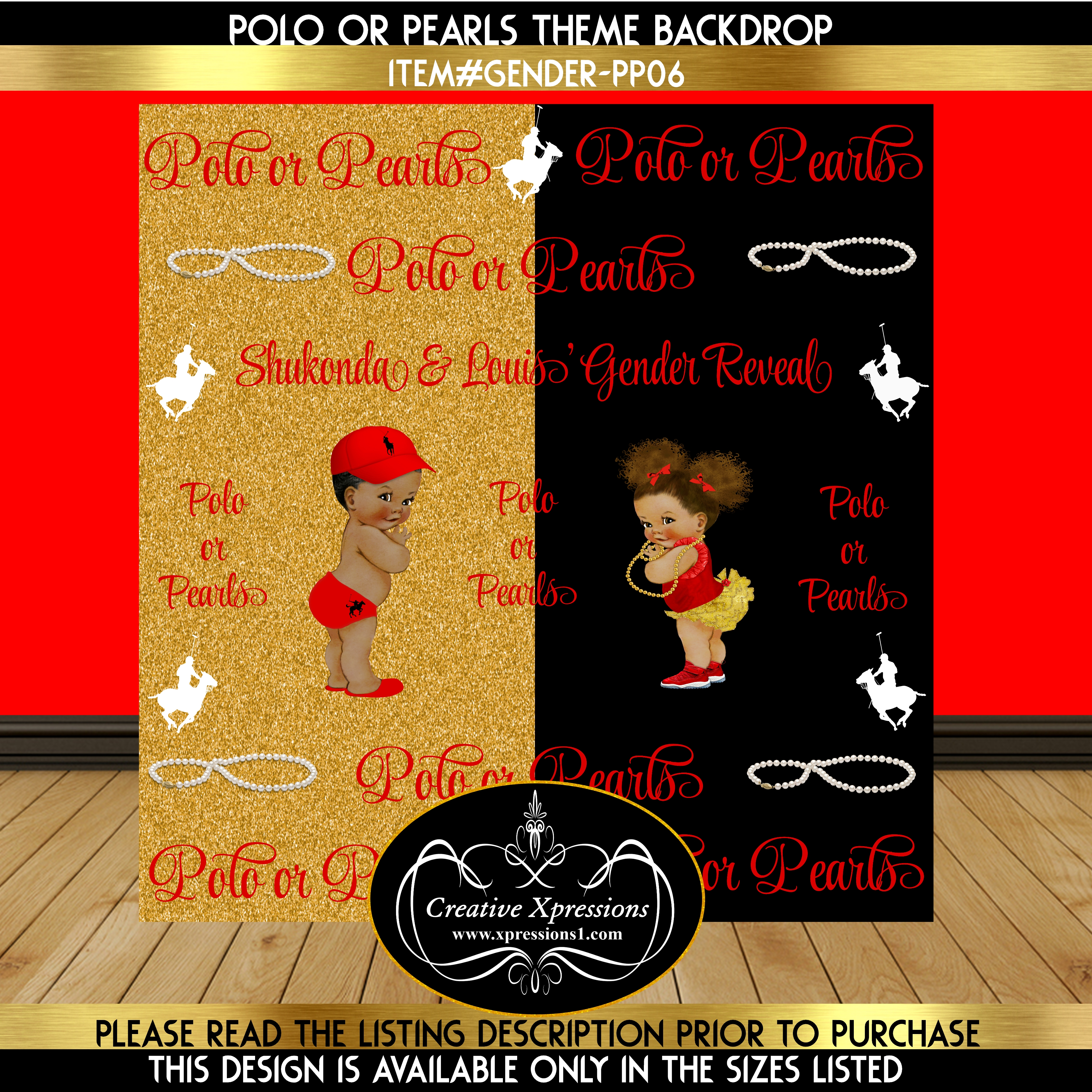 Red or Black Polo or Pearls Gender Reveal Backdrop