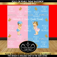 Blue or Pink Polo or Pearls Gender Reveal Backdrop