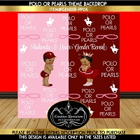 Burgundy or Pink Polo or Pearls Gender Reveal Backdrop