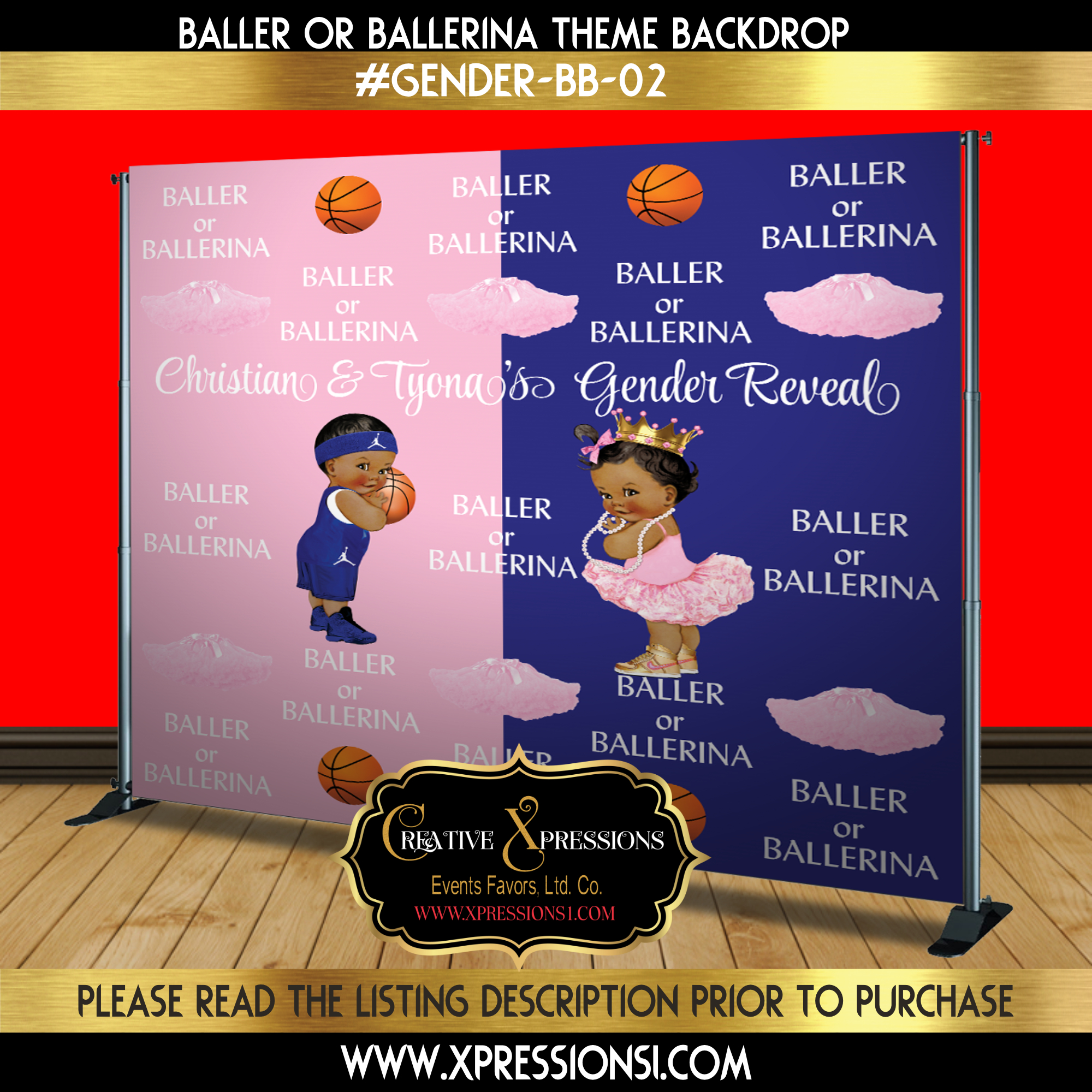 Baller or Ballerina Royal Blue or Pink