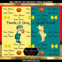 Yellow and Teal Free Throws or Hairbows Gender Reveal Backdrop