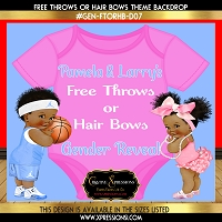 Free Throws or Hairbows Gender Reveal Backdrop