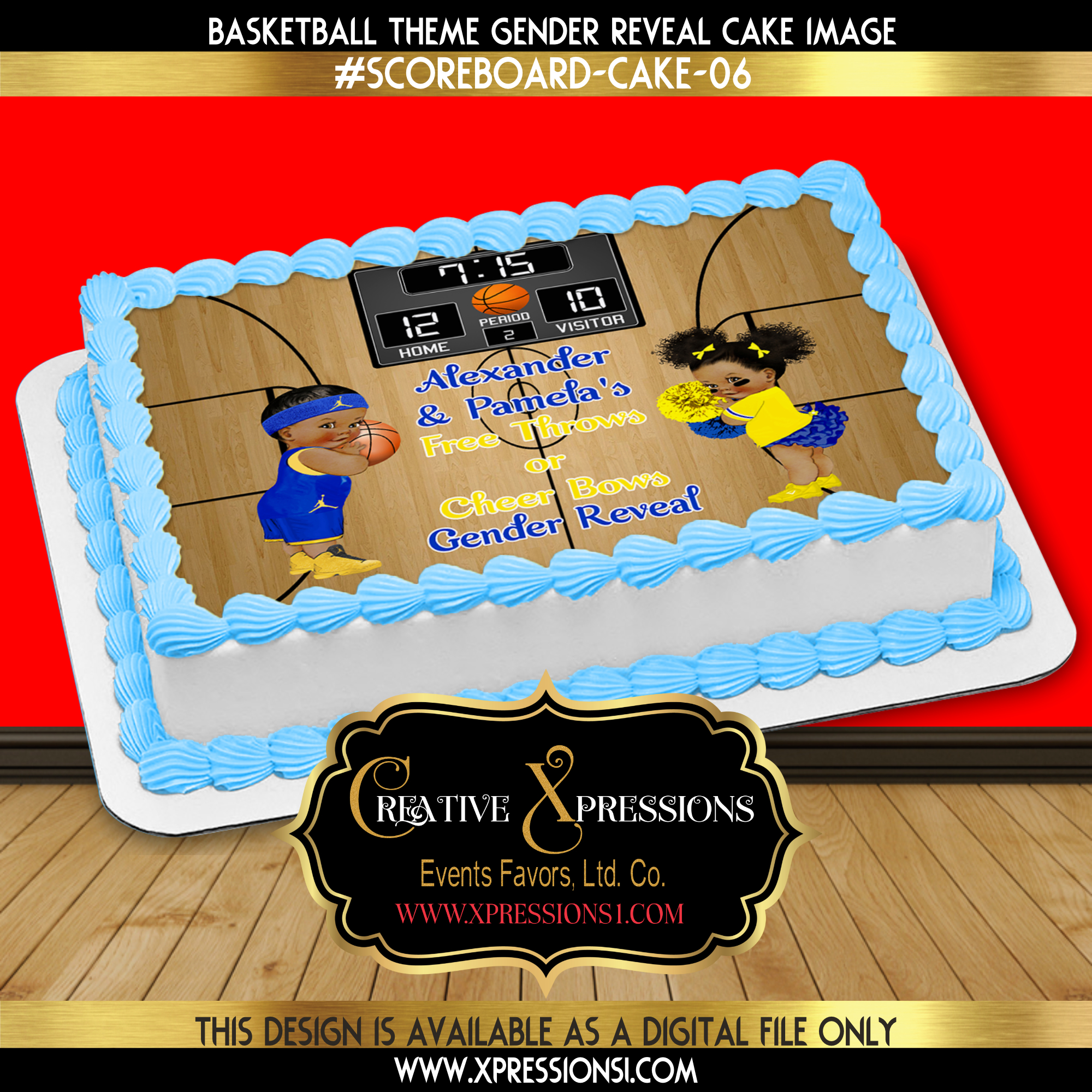 Blue and Yellow Basketball Theme Cake Topper