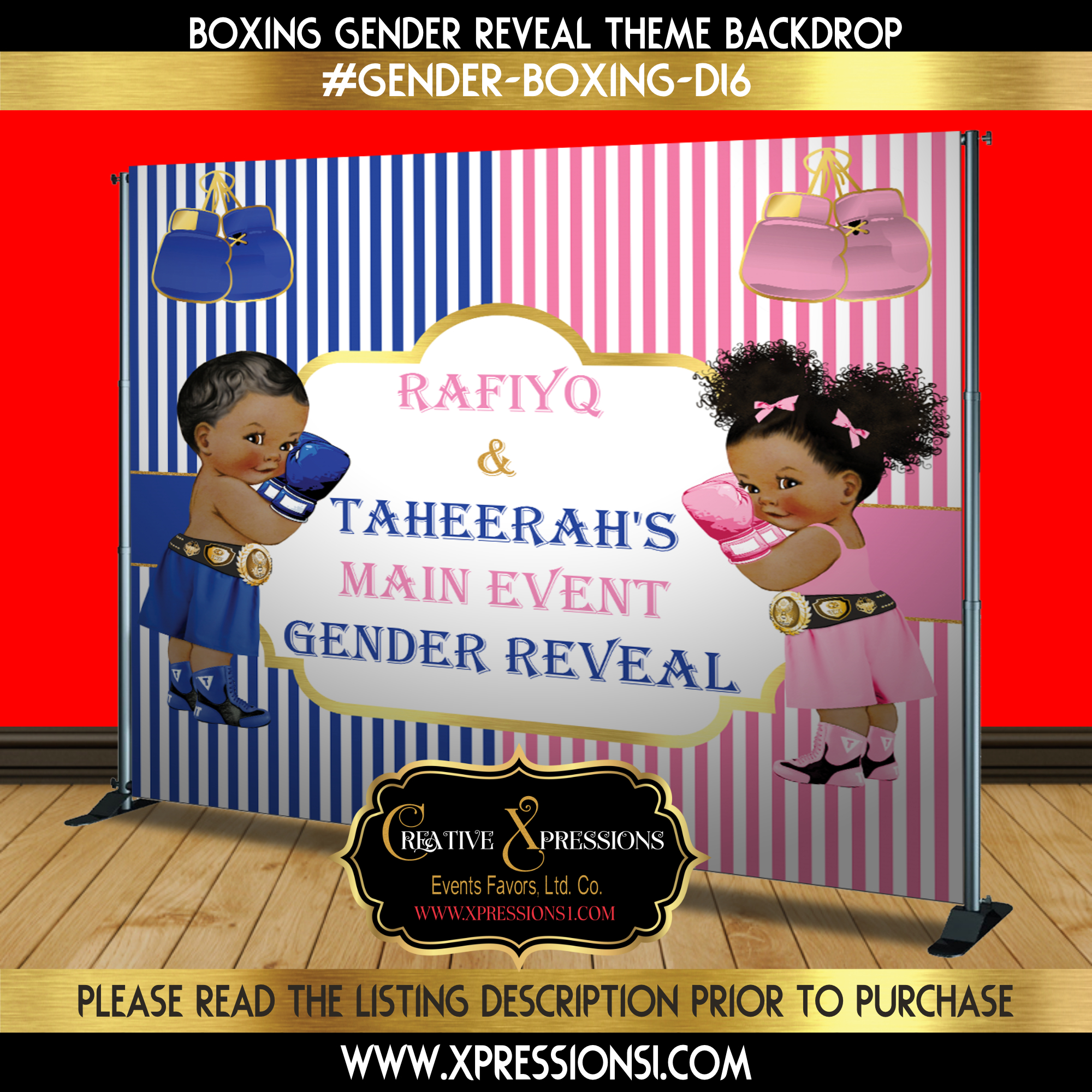 Blue and Pink Main Event Gender Reveal