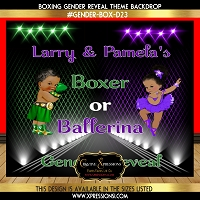 Boxer or Ballerina (Green) Gender Reveal Backdrop