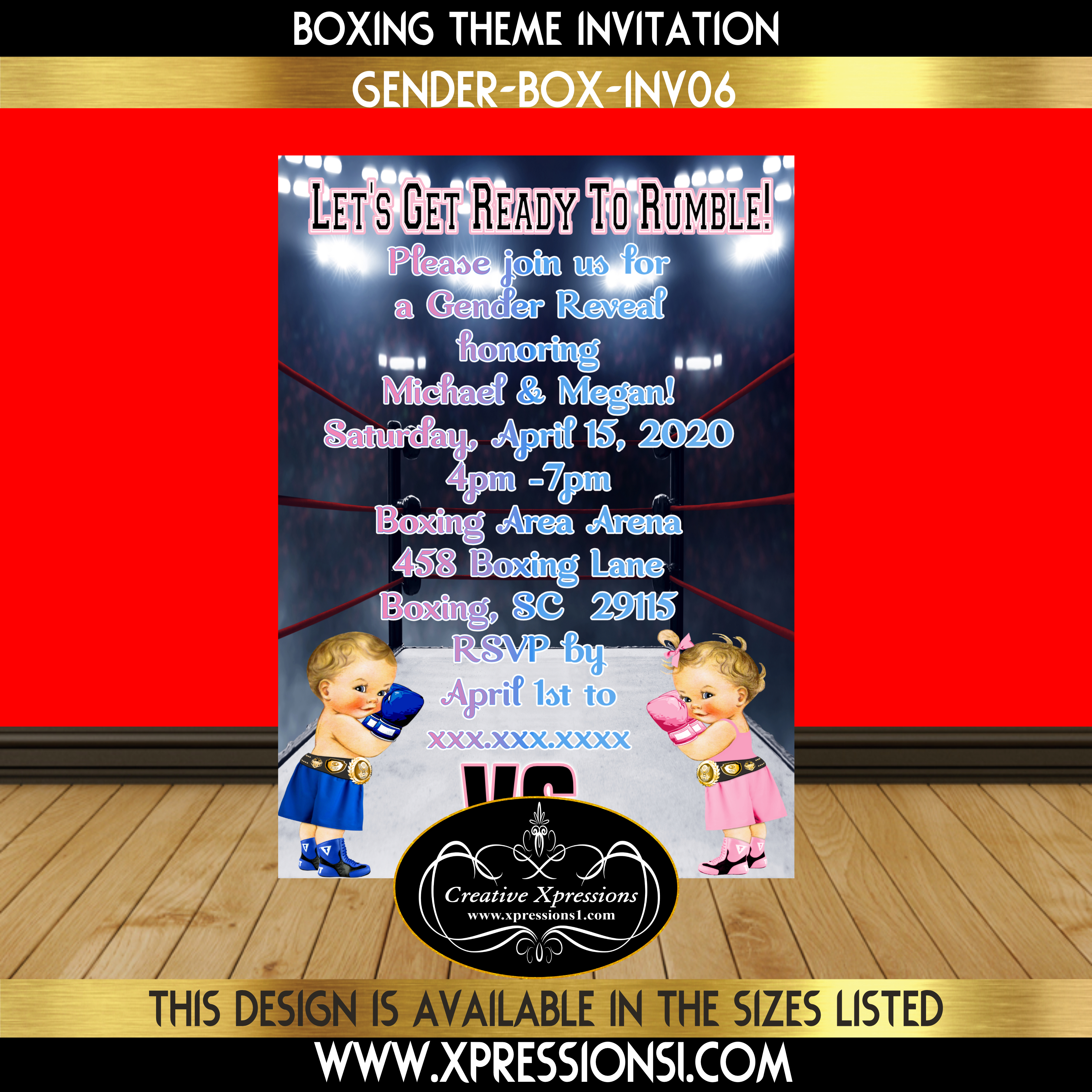 Blue and Pink Boxer Gender Reveal Invitation