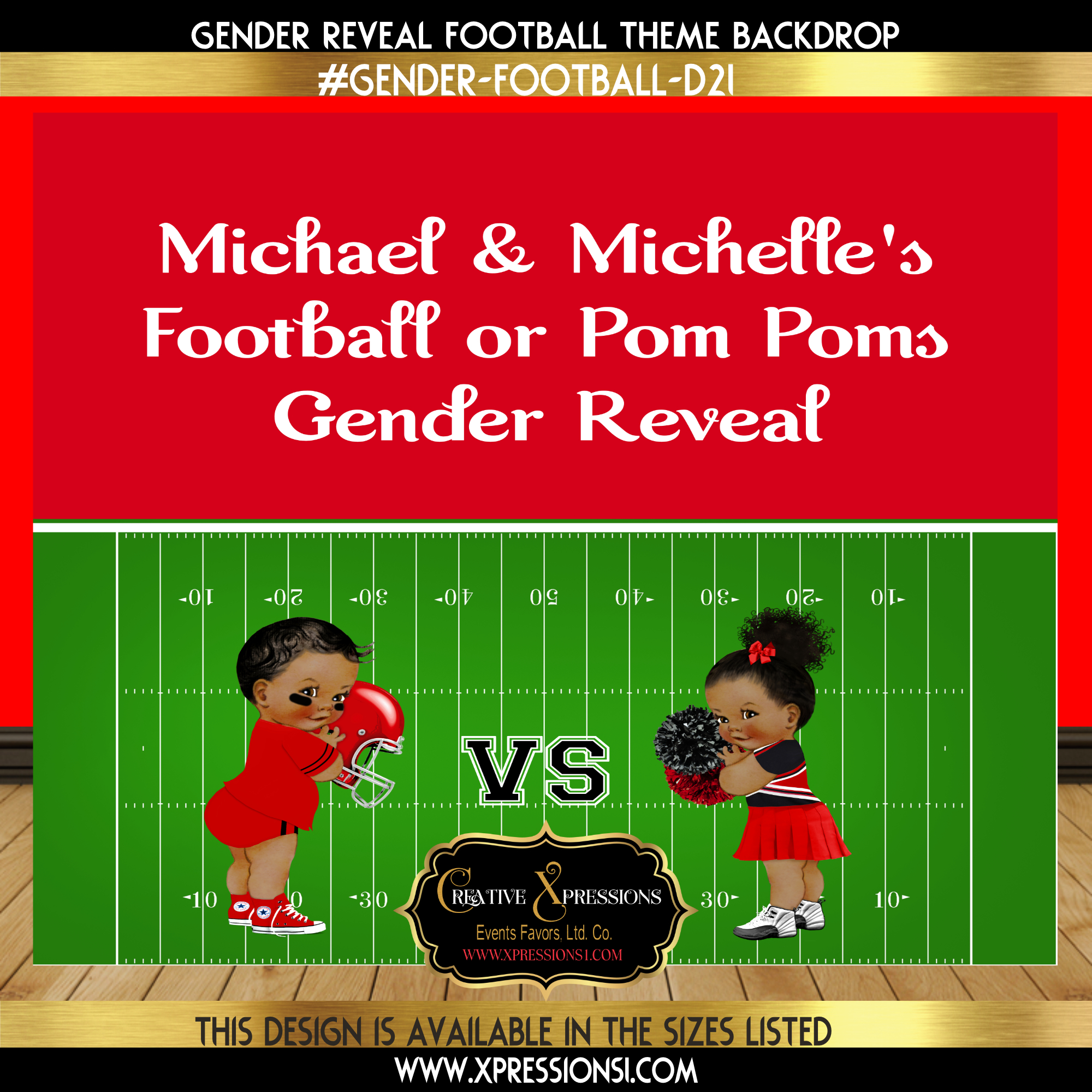 Red and Black Football Gender Reveal Backdrop