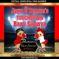 Football Red Gender Reveal Backdrop