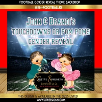 Touchdowns or Pom Poms Gender Reveal Backdrop