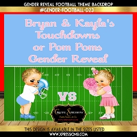 Blue and Pink Football Gender Reveal Backdrop