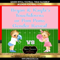 Blue and Pink Football Gender Reveal Backdrop V2
