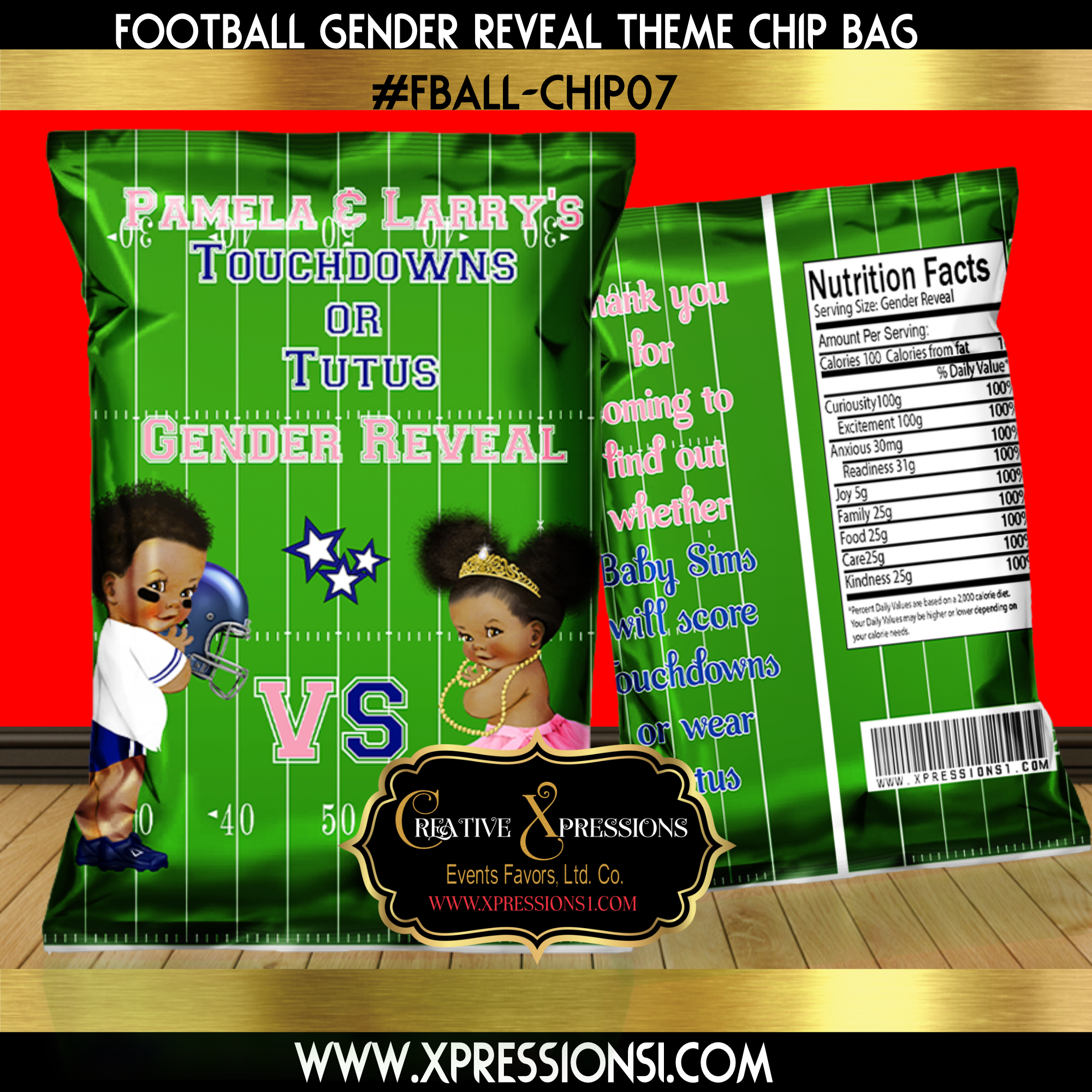 Football Field Gender Reveal Chip Bag