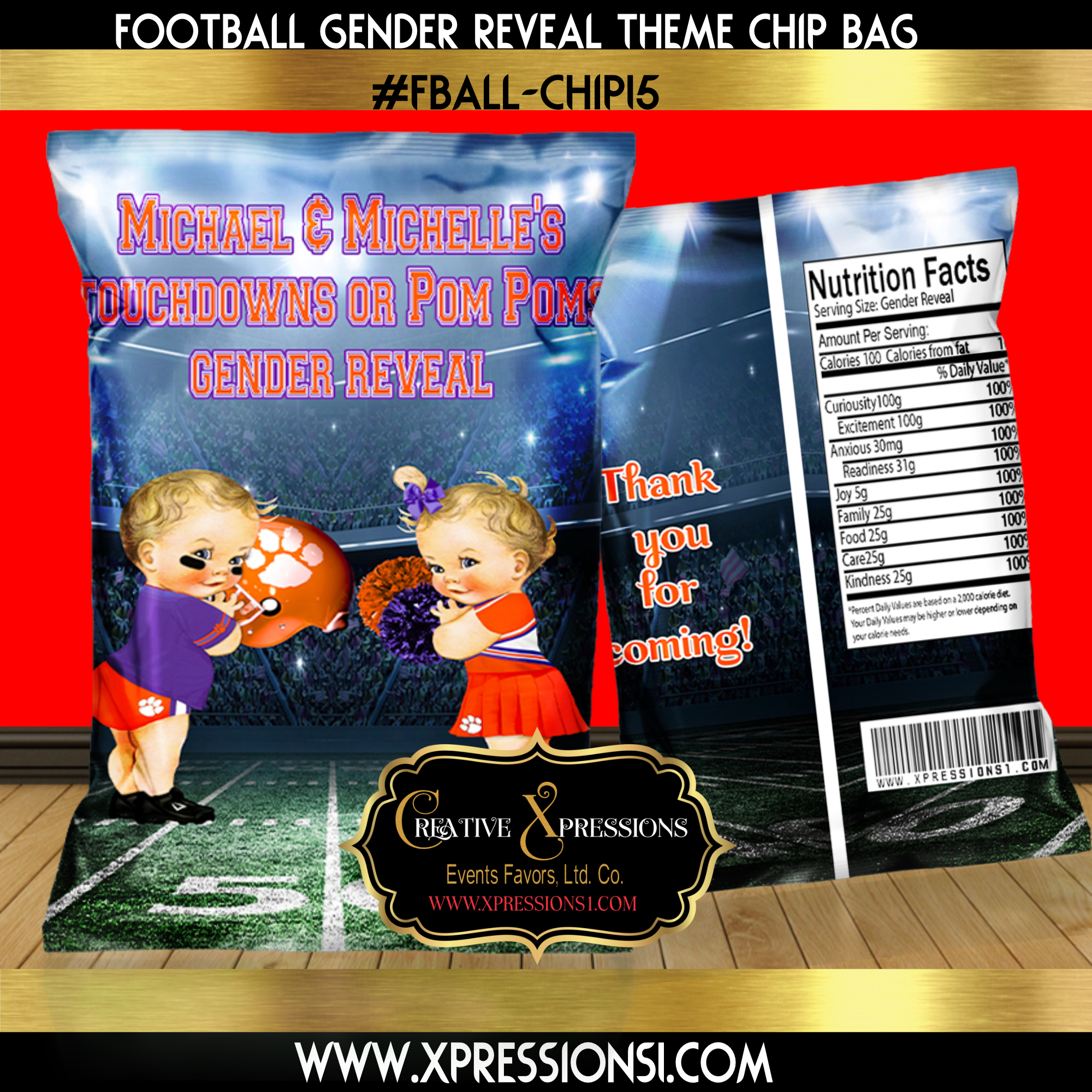 Clemson Gender Reveal Chip Bag