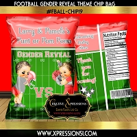 Coral and Silver Touchdowns or Pom Poms Chip Bag