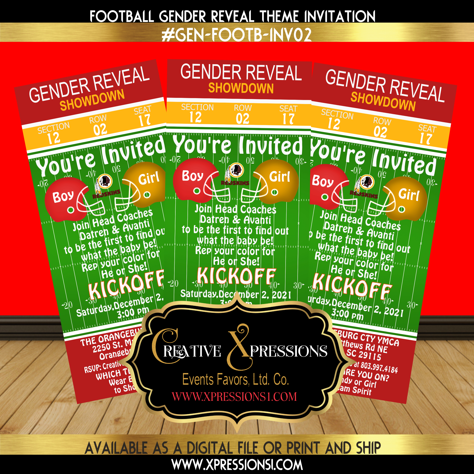 Clash of the Redskins Helmets Invitation