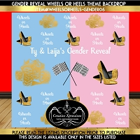 Heels or Wheels Gender Reveal Baby Shower Backdrop 05
