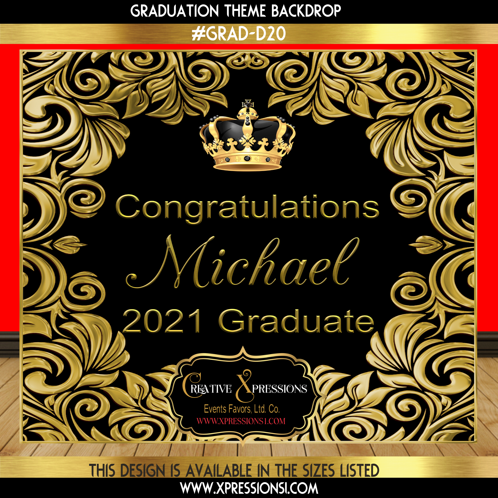Ornate Gold Graduation Backdrop