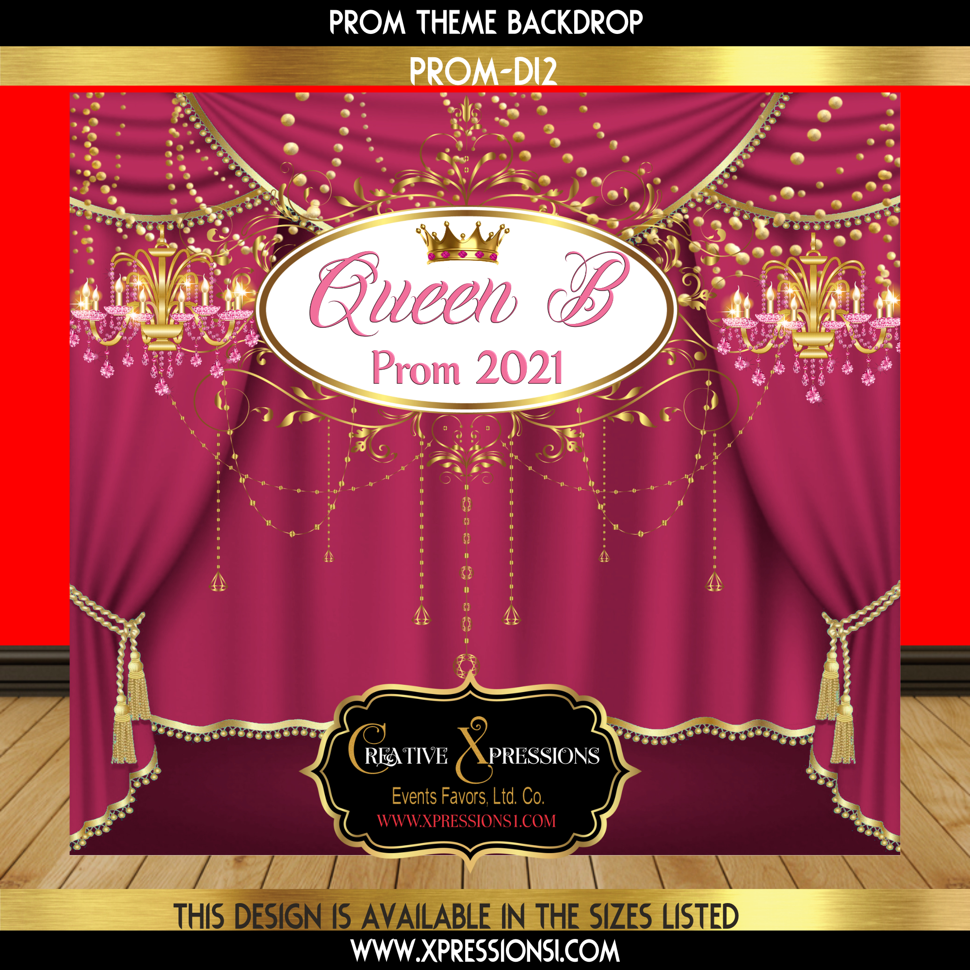 Queen Pink Prom Backdrop