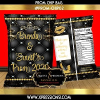 Black Tuft with Diamonds Prom Chip Bag