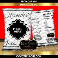 White and Silver Prom Theme Chip Bag