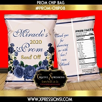 Navy Floral Wreath Prom Chip Bag