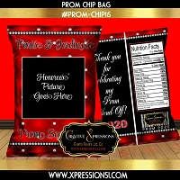Diamond on Red Prom Chip Bag