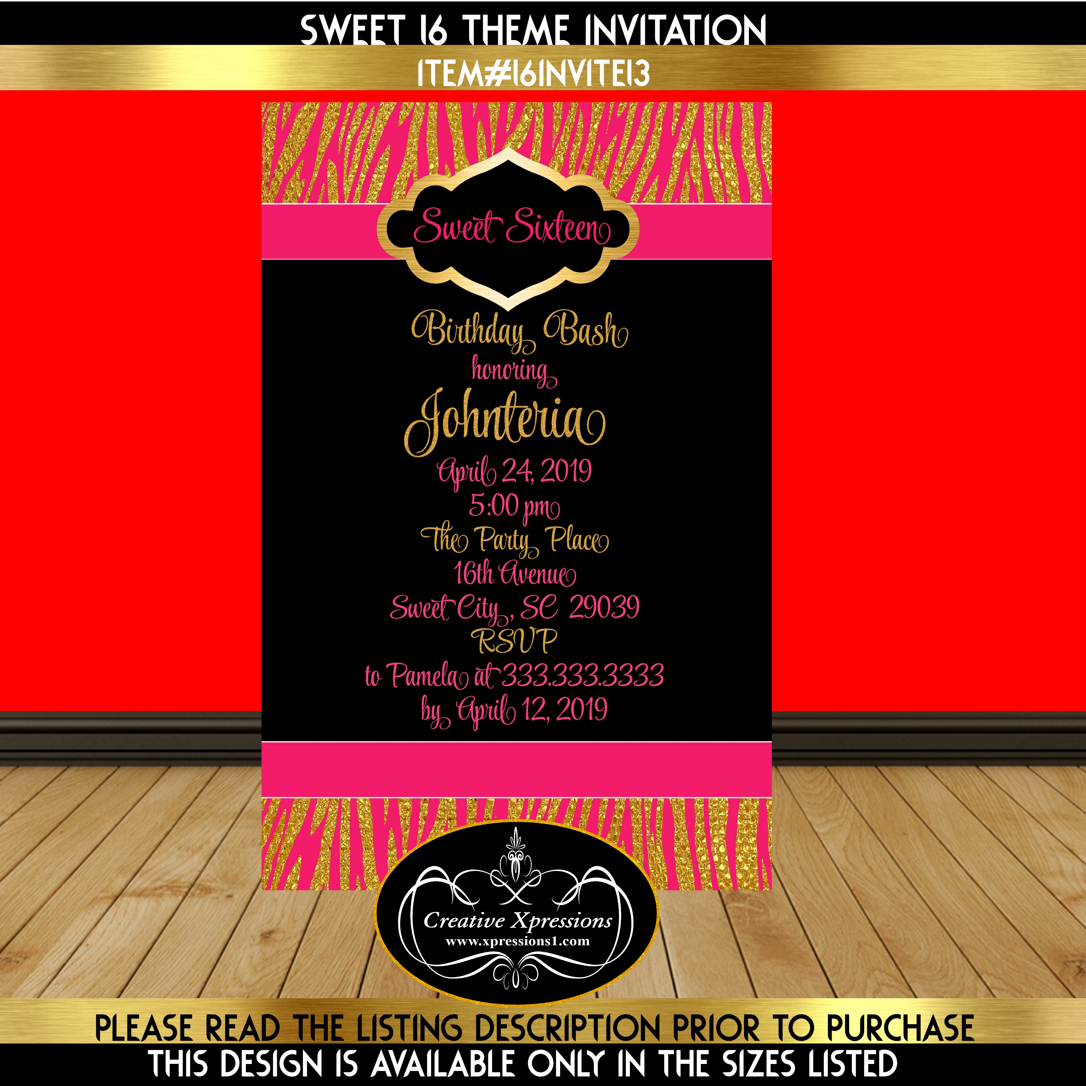 Hot Pink and Zebra Sweet 16 Invitation