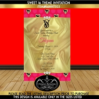 Golden Silk with Pink Invitation