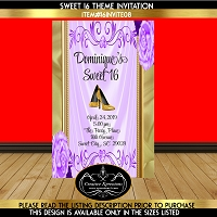 Lavender and Gold Invitation