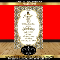 Silver and Gold Glitter Heels Sweet 16 Birthday Invitation