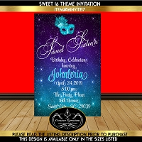 Turquoise and Purple Masquerade Invitation