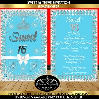 Turquoise and Silver Winter Wonderland Invitation