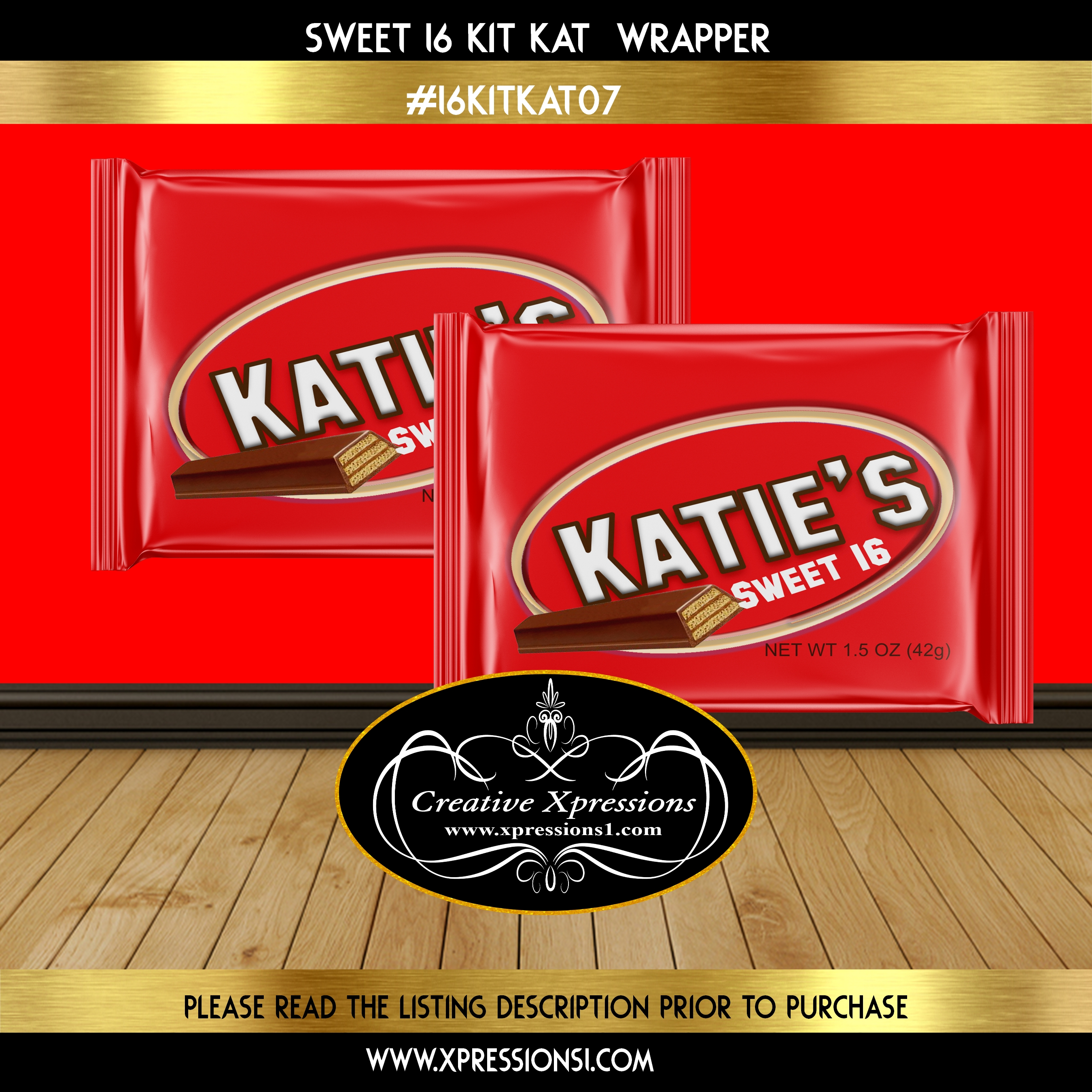 Sweet 16 Kit Kat Wrapper