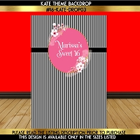 Stripes with Florals Birthday Backdrop