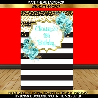 Sweet 16 Teal & Gold Florals Backdrop