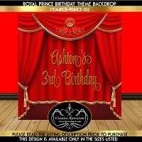 Red and Gold Royal Prince Birthday Backdrop